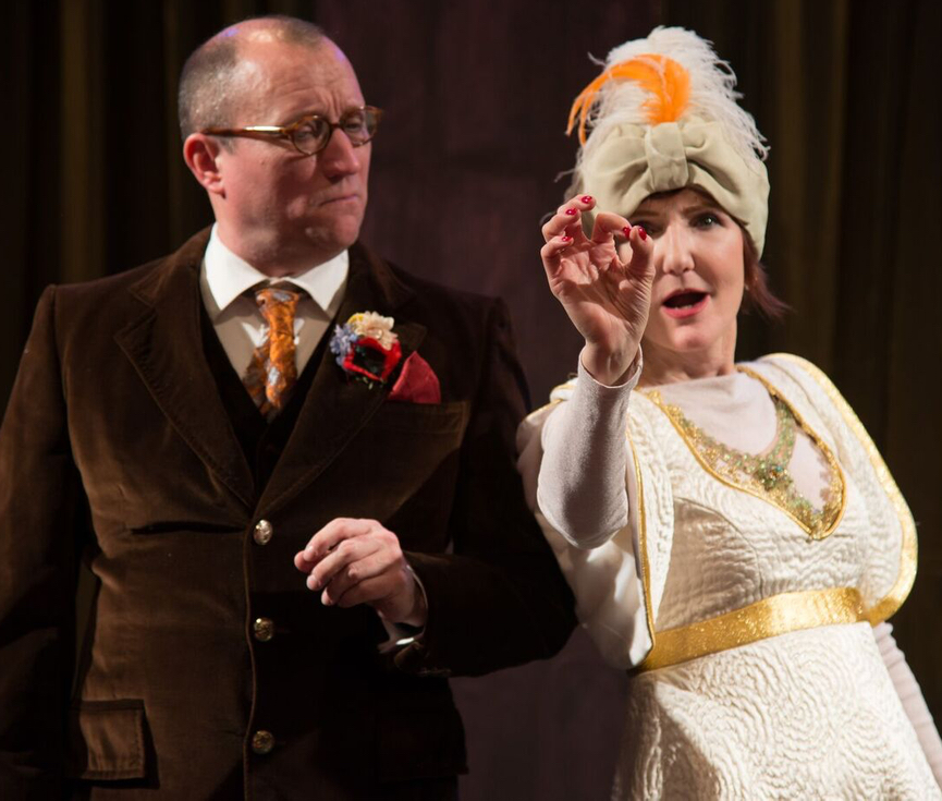 Bob Schmidt as Lord Hector, Tina Brock as The Duchess in TIME REMEMBERED. Photo by Johanna Austin.