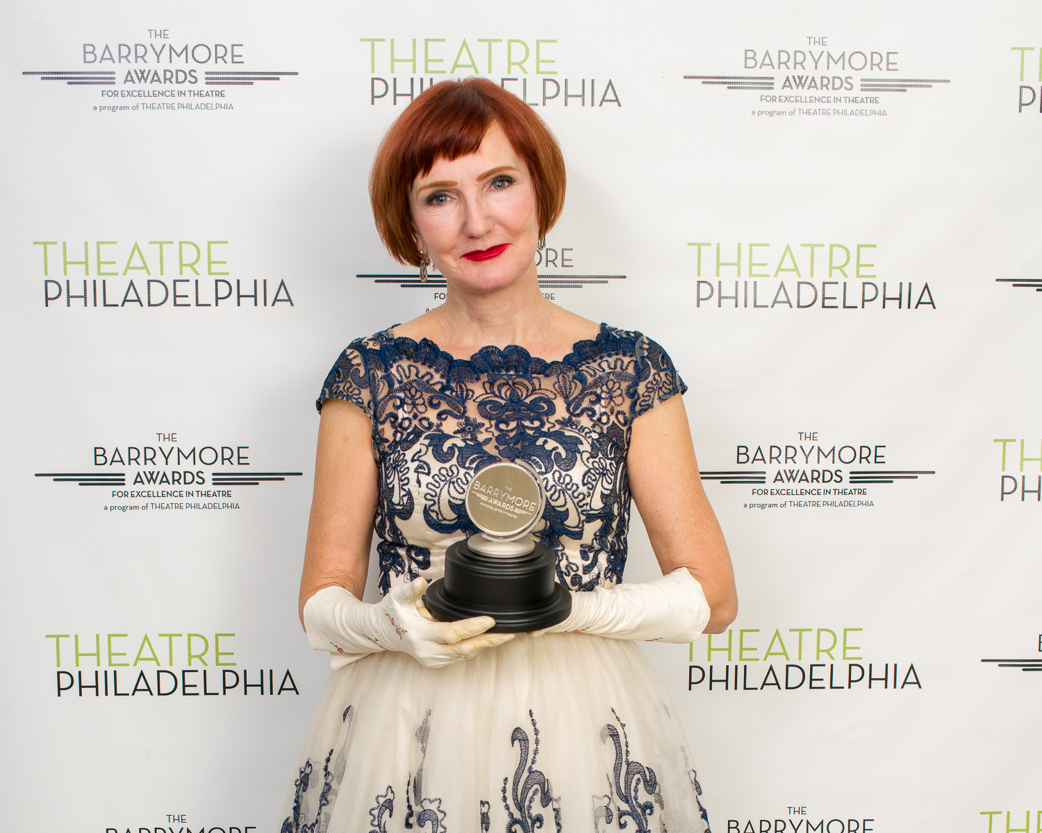 Tina Brock with her 2018 Barrymore for Outstanding Supporting Performance in a Play. Photo by Mike DiFebbo.
