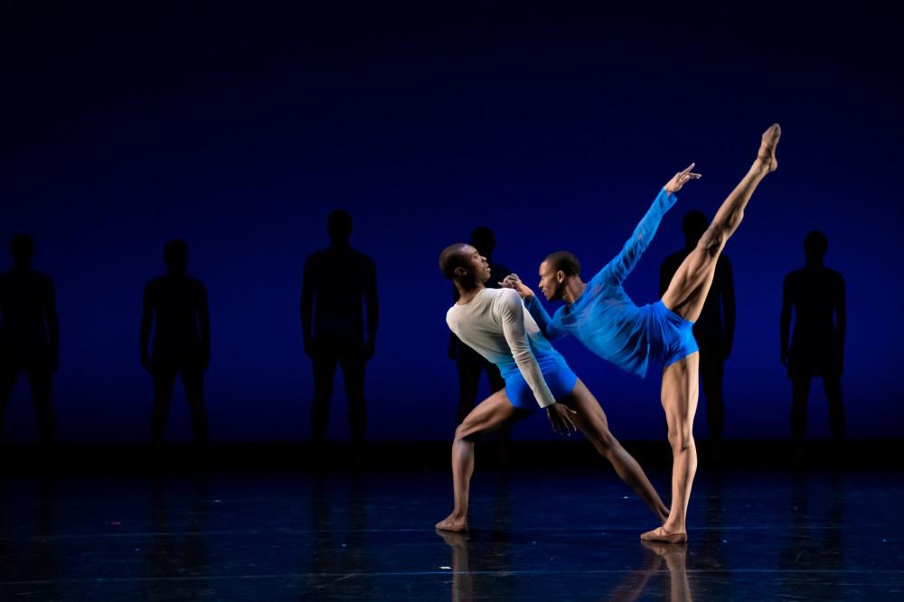 "(L to R) Stanley Glover and Roderick Phifer in ""Yonder: a skype ballet"" by choreographer Wubkje Kuindersma. Photo by: Vikki Sloviter."
