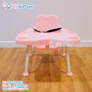 เก้าอี้สูงทานข้าวสำหรับเด็ก ปรับระดับได้ สีชมพู-2