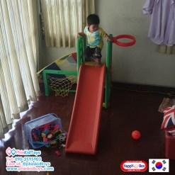 สไลด์เดอร์ปรับระดับได้ แป้นบาสและโกลบอล สีเขียว จากเกาหลี Happy Box