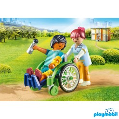 Playmobil 70193 Hospital Patient in Wheelchair Figure เพลย์โมบิล โรงพยาบาล พยาบาลและผู้ป่วยนั่งรถวีลแชร์