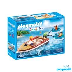 Playmobil 70091 Camping Speedboat with Tube Riders Figure เพลย์โมบิล แคมป์ เรือสปีดโบ้ทพร้อมแพยาว