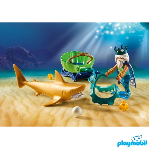 Playmobil 70097 King of the Sea with Shark Carriage เมอร์เมด เรือลากจ้าวสมุทร และฉลามทอง