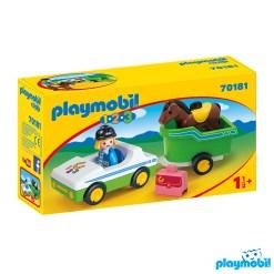 Playmobil 70181 1.2.3 Car with Horse Trailer Figure เพลย์โมบิล 123 รถพร้อมรถพ่วง และม้า