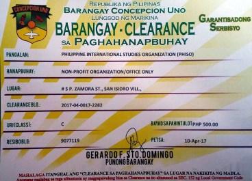 Barangay Clearance certificate