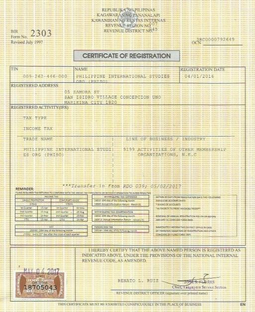Certificate of Registration from the Bureau of Internal Revenue