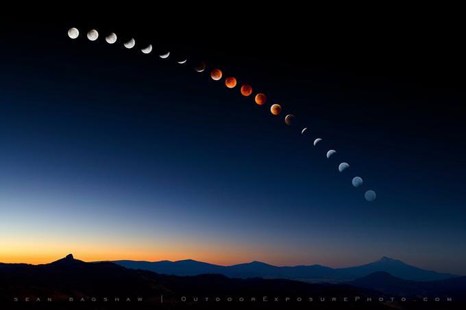 Lunar Eclipse Over Mt. Shasta by Sean Bagshaw