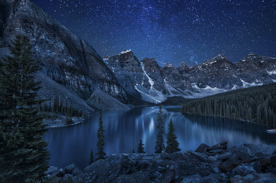 Moraine Lake at Night by Andrey Popov