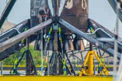 The recovered booster at Port Canaveral. Photos kindly provided by Scott Murray/MurfamPost.