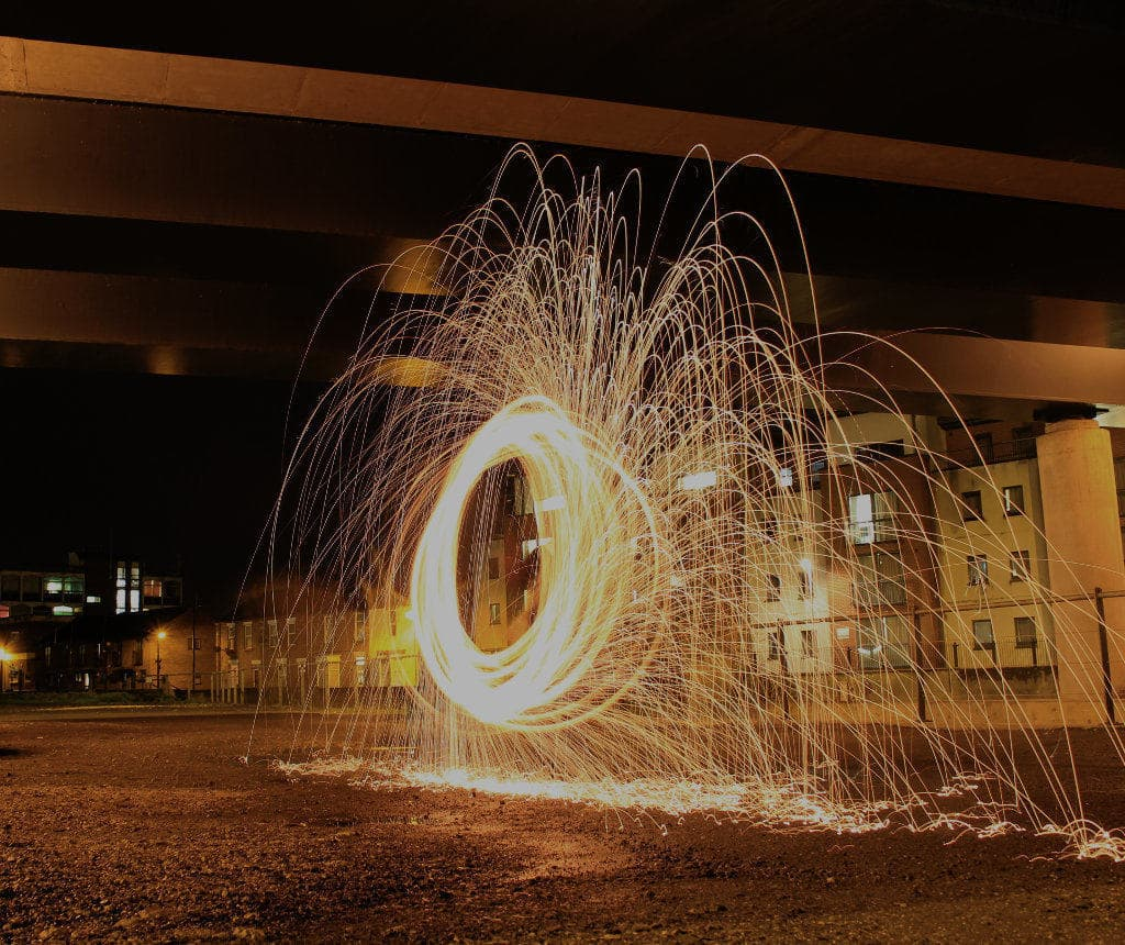 light painting with fire