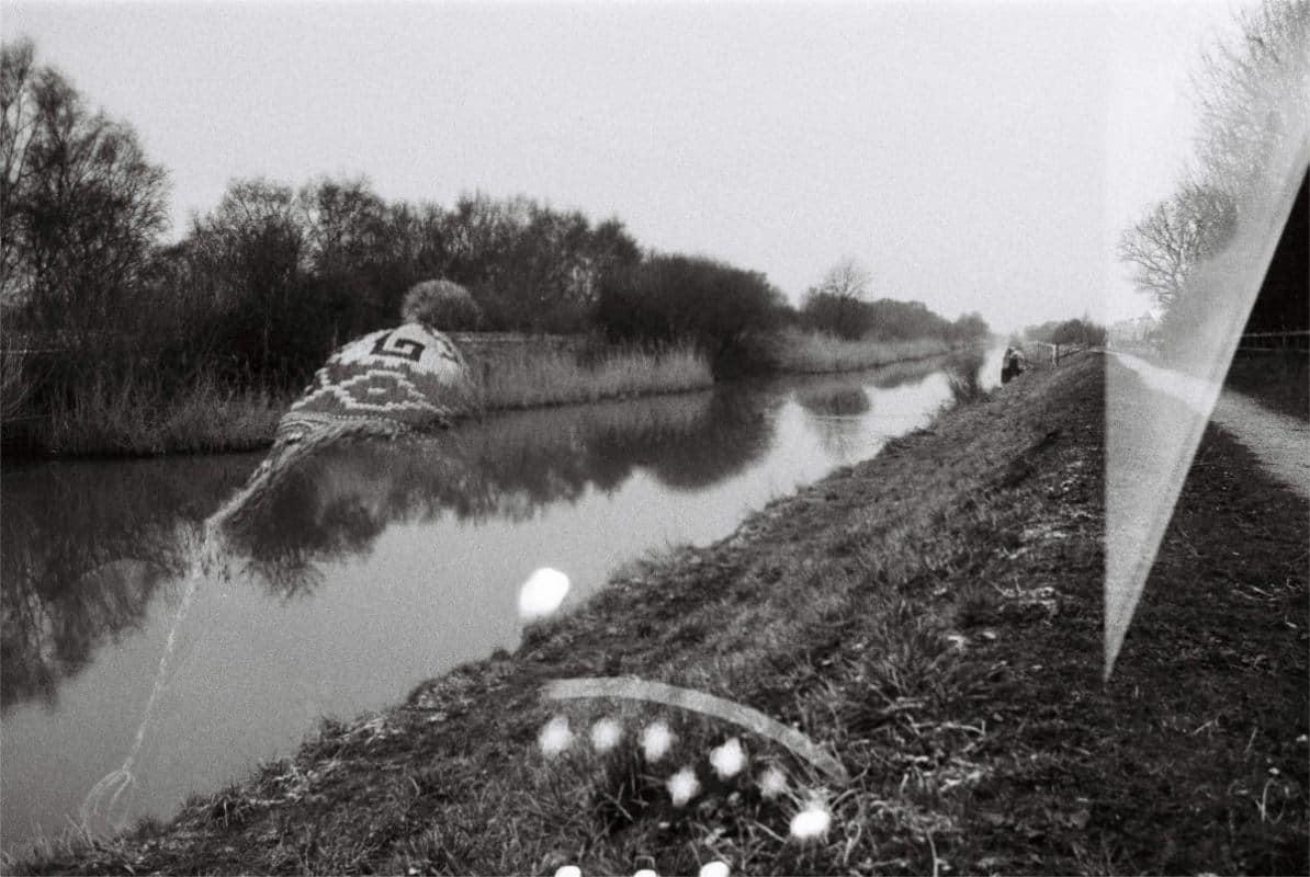 double exposure shot of landscape with portrait
