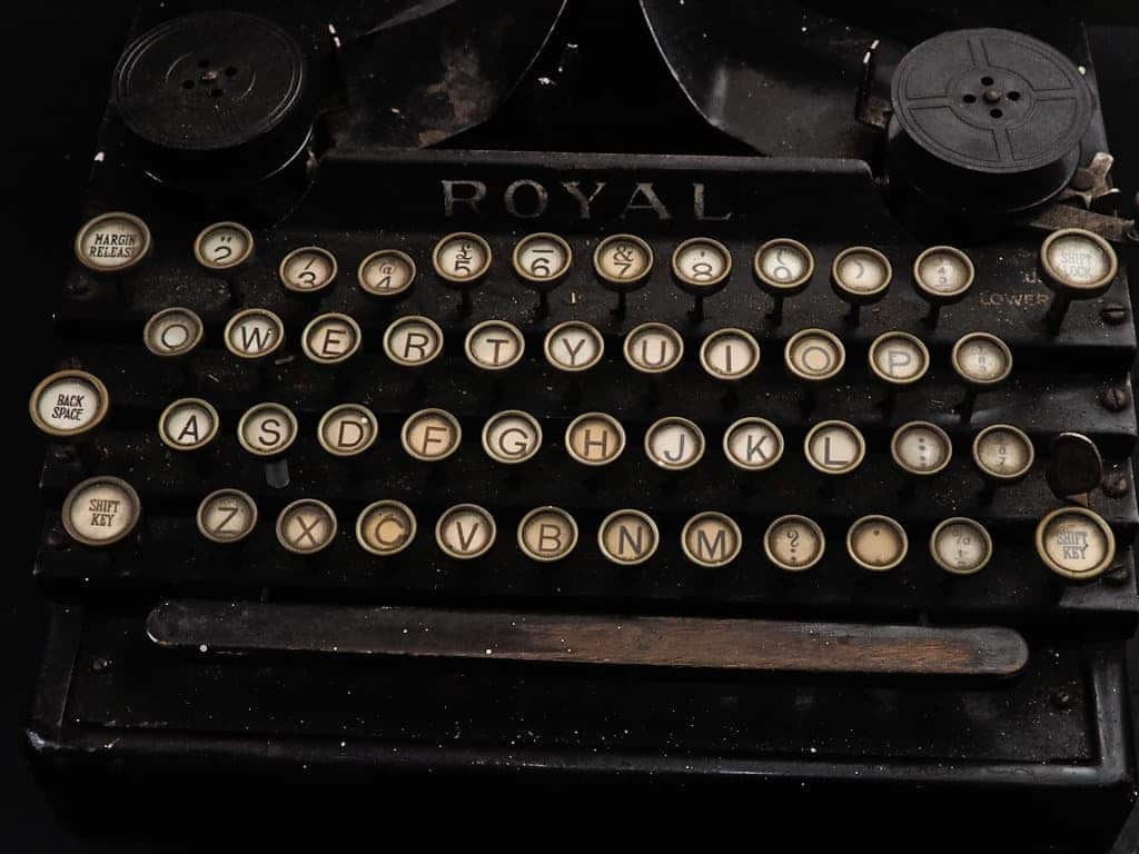 typewriter at the old nick building in Gainsborough