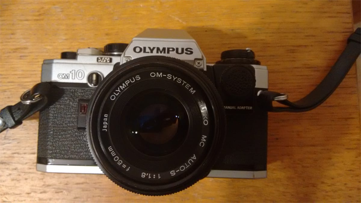 olympus om10 and 50m f1.8 prme lens