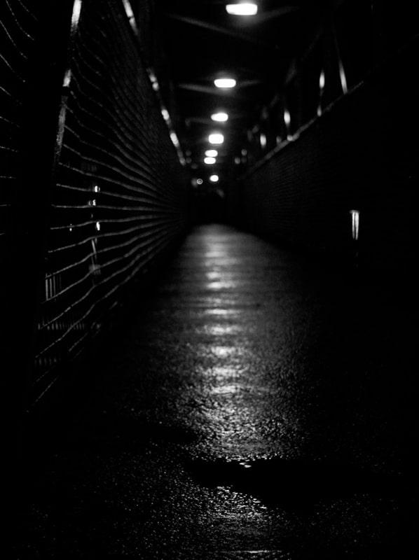 Bridge at night during rain (hand held)