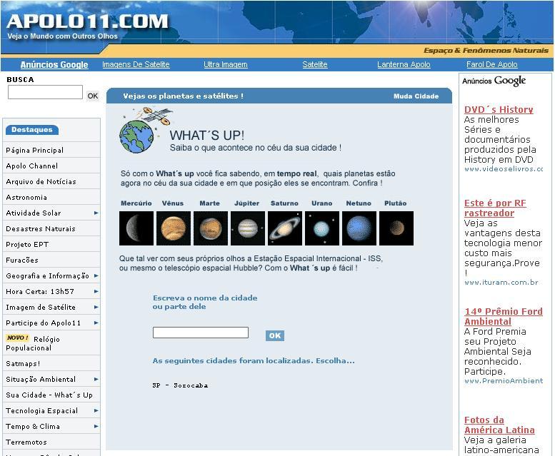 WHAT'S UP! - A ferramenta virtual que lhe permite saber estão visíveis no céu da sua cidade!