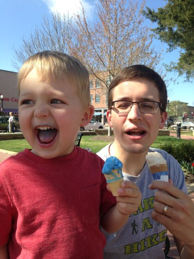 Arthur's first solo ice cream cone from Spark.