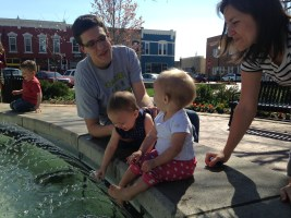 Splashing in the fountain at Bentonville Square