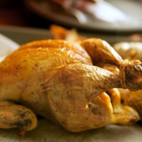 Roast chicken with sesame oil