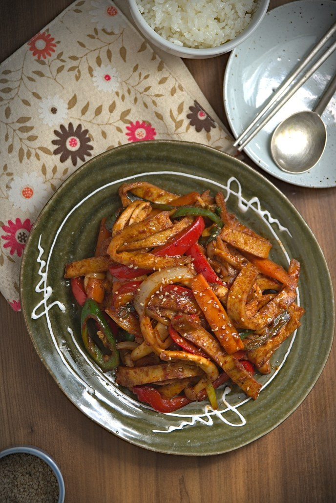 Korean spicy stir-fried fish cakes