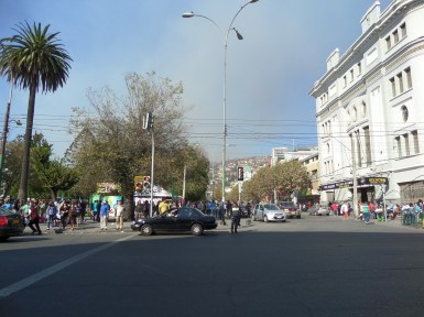 The view from central Valparaiso. The smoke of the fire could be seen from all parts of Viña del Mar and Valparaiso.