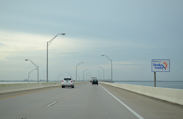 Traveling westbound on Gandy Bridge to Phoebus Tattoos and Body Piercing St Petersburg FL