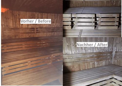 Saunareinigung Vorher/Nachher