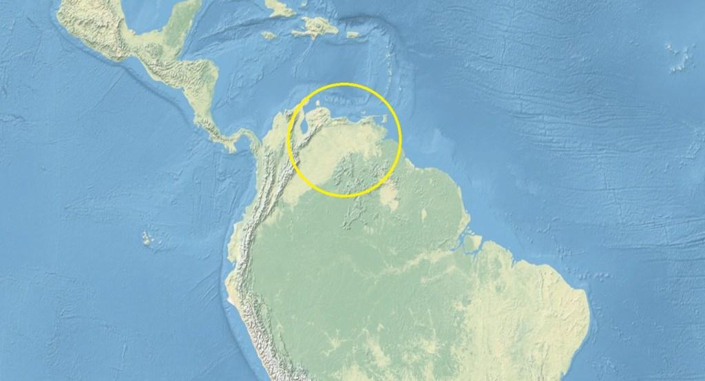 Map of Latin America with Venezuela circled