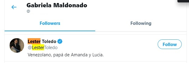 Gabriela Maldonado followed by Lester Toledo on Twitter