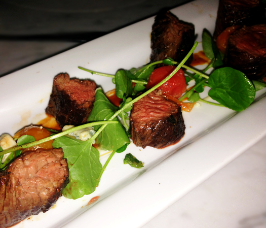 "Hanger ""Butcher's Steak"" with watercress, BBQ, and blue fondue"