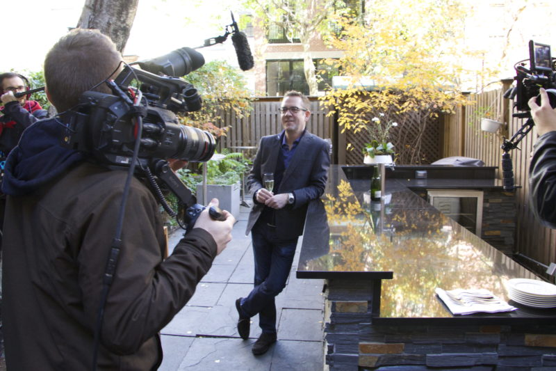 """Ted Allen on location for """"American Masters – James Beard: America's First Foodie"""" at the James Beard Foundation."""