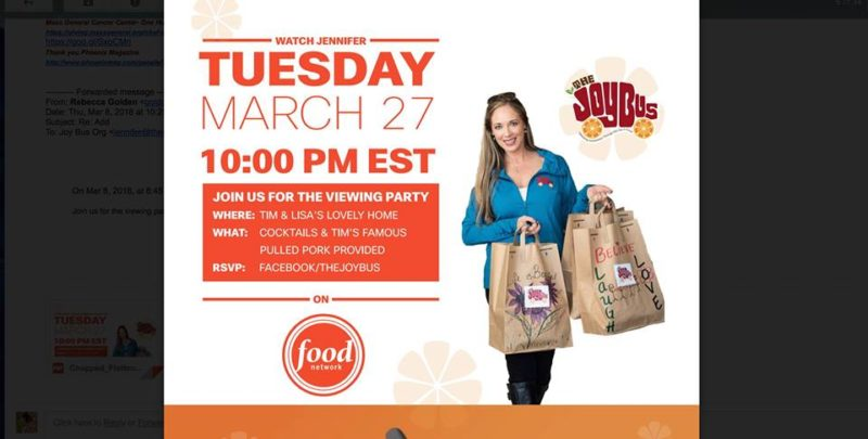 jennifer caraway of the joy bus chopped viewing party
