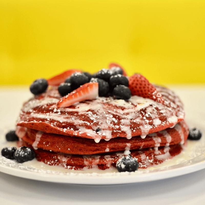 Over Easy Valentines Day red velvet pancakes
