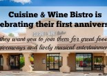 Cuisine Wine & Bistro is celebrating their first anniversary