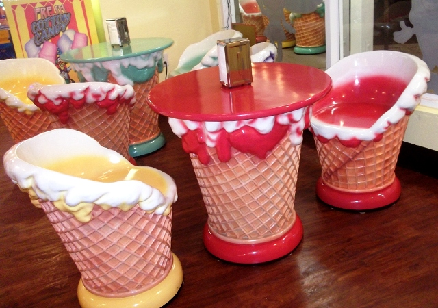 Ice Cream cone tables and chairs at Chip & Ruby's