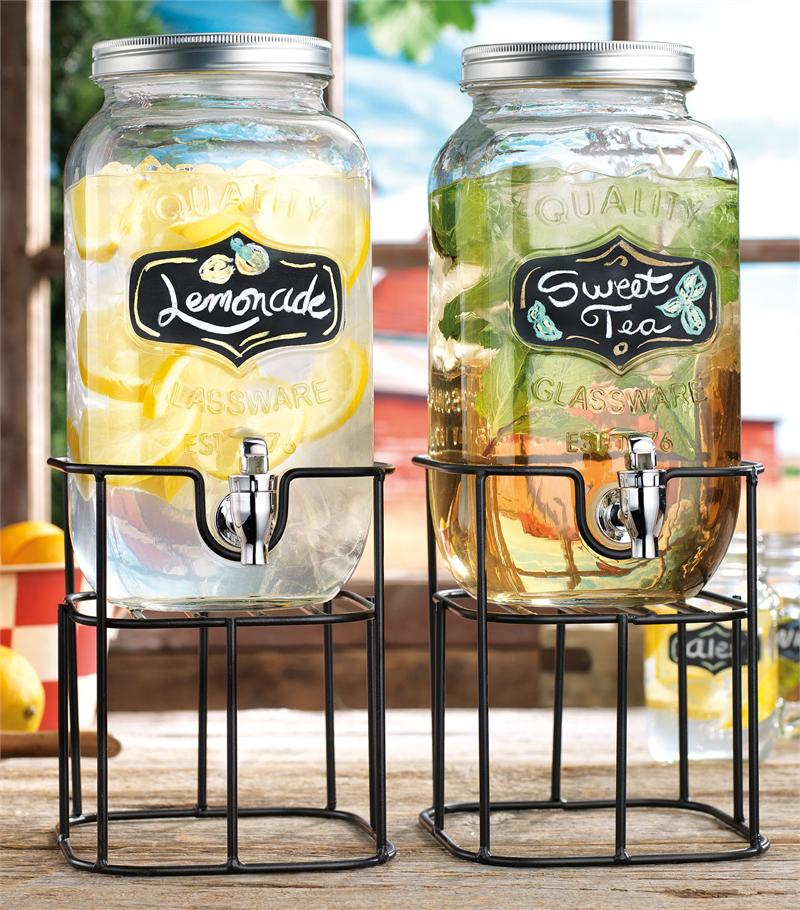 Classic Hostess Double Glass Chalkboard Beverage Dispensers