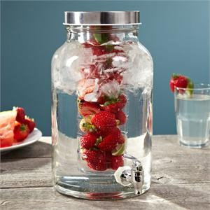 Classic Hostess Cylinder Glass Beverage Dispenser With Infuser
