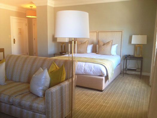 The spacious room offered a sitting area in front of the comfy bed