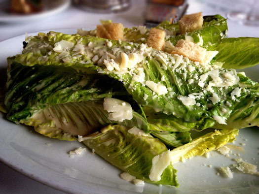 Caesar dressed leaves of Romaine