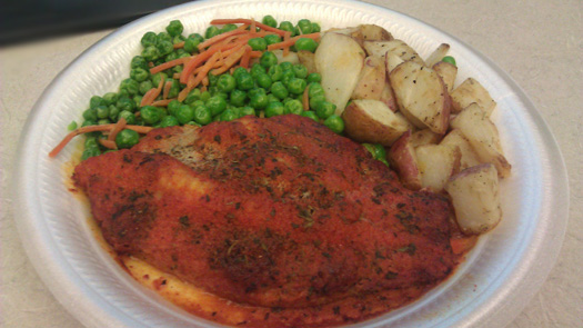 Blackened Catfish with carrots & peas and roasted potatoes