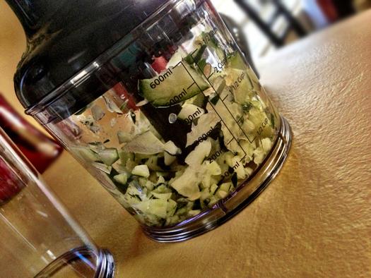 2.5 cup chopper attachment easily minces a quick, cucumber relish.