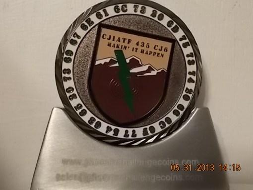 CJIATF-435 CJ6 custom coin back