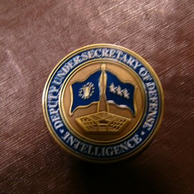 Deputy Secretary of Defense Intelligence blue flag custom coin back