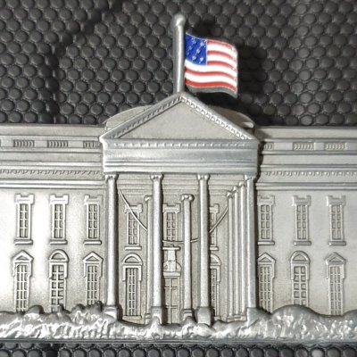 White House Military Office Freestanding White House Shaped Challenge Coin made by Phoenix Challenge Coins