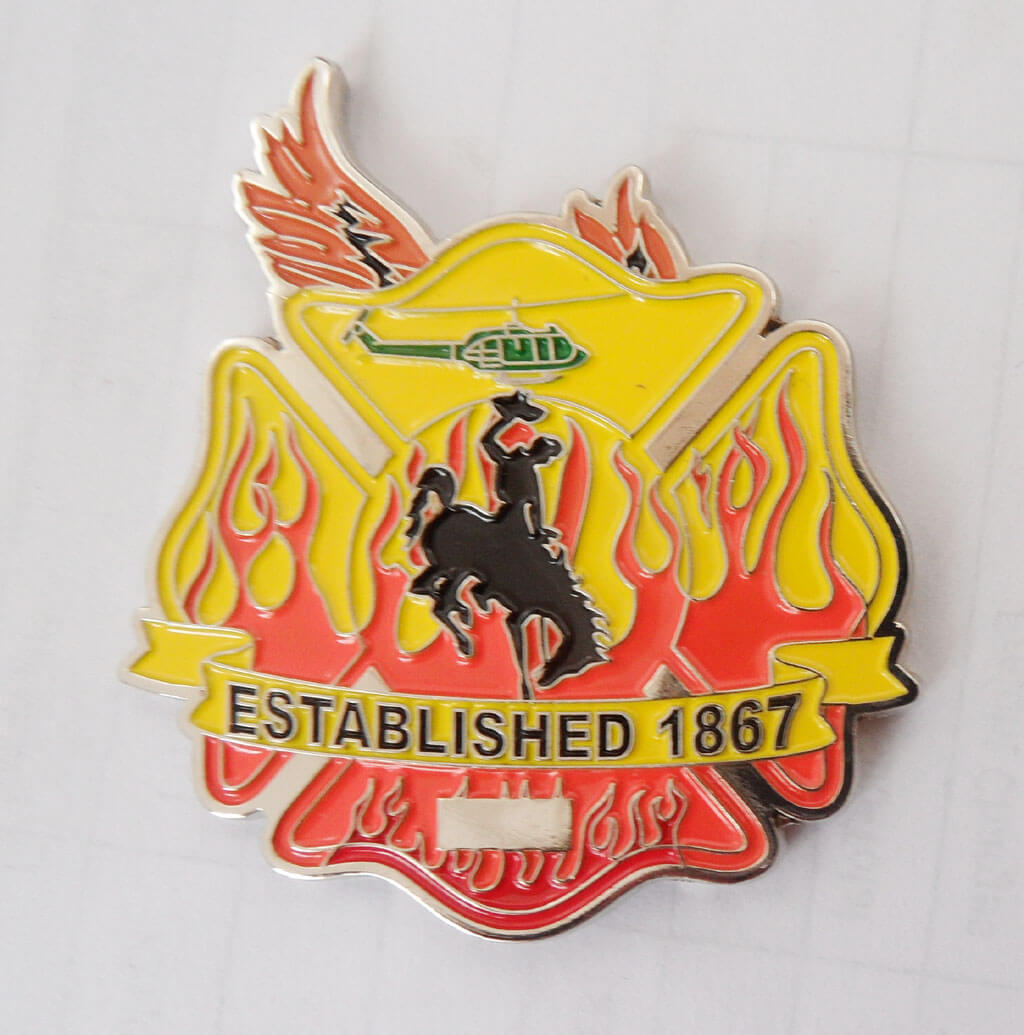 90th CES/CEF Fire Emergency Services Flight Warren, AFB FD Custom Shaped coin by Phoenix Challenge Coins back