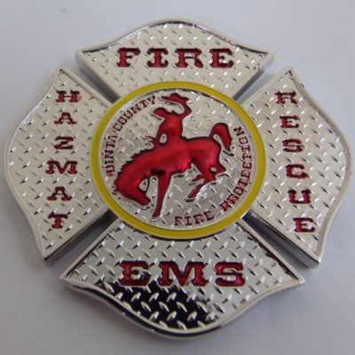 Uinta County Fire WY Diamond plate Shaped Custom Fire Coin by Phoenix Challenge Coins back