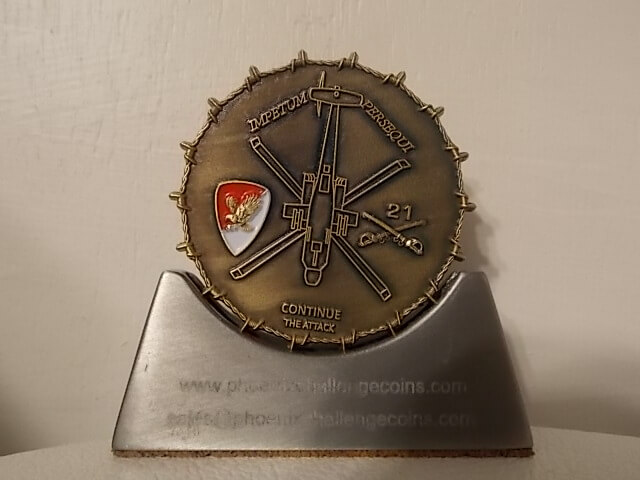 21 Air Cav Apache unit coin with realistic 3D barbed wire edge in antique gold by Phoenix Challenge Coins