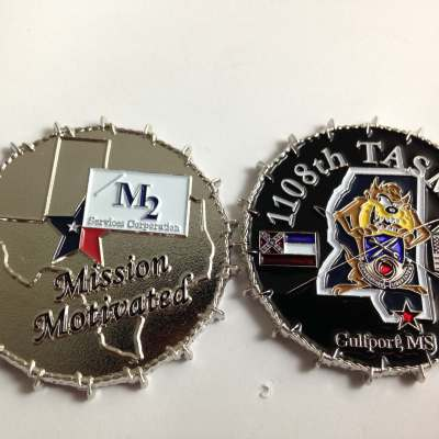 1108th TAS MG Biloxi MS 3D Barbed Wire Edge Coin by Phoenix Challenge Coins