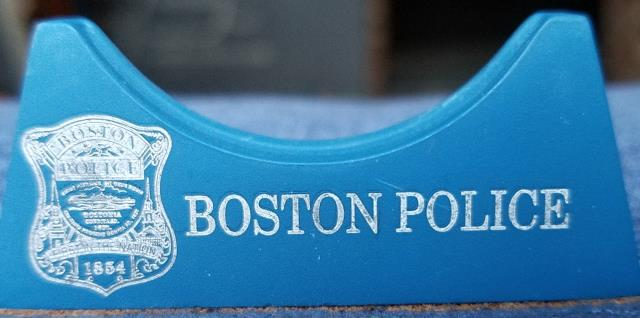 "2"" Phoenix Challenge Coin Armor™ Boston Police Personalized Single Challenge Coin vertical display stand"
