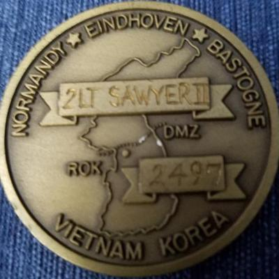 1st BN 506th PIR 1st BCT 101st Abn Korea 1st Lt Sawyer Named challenge coin #2497 back